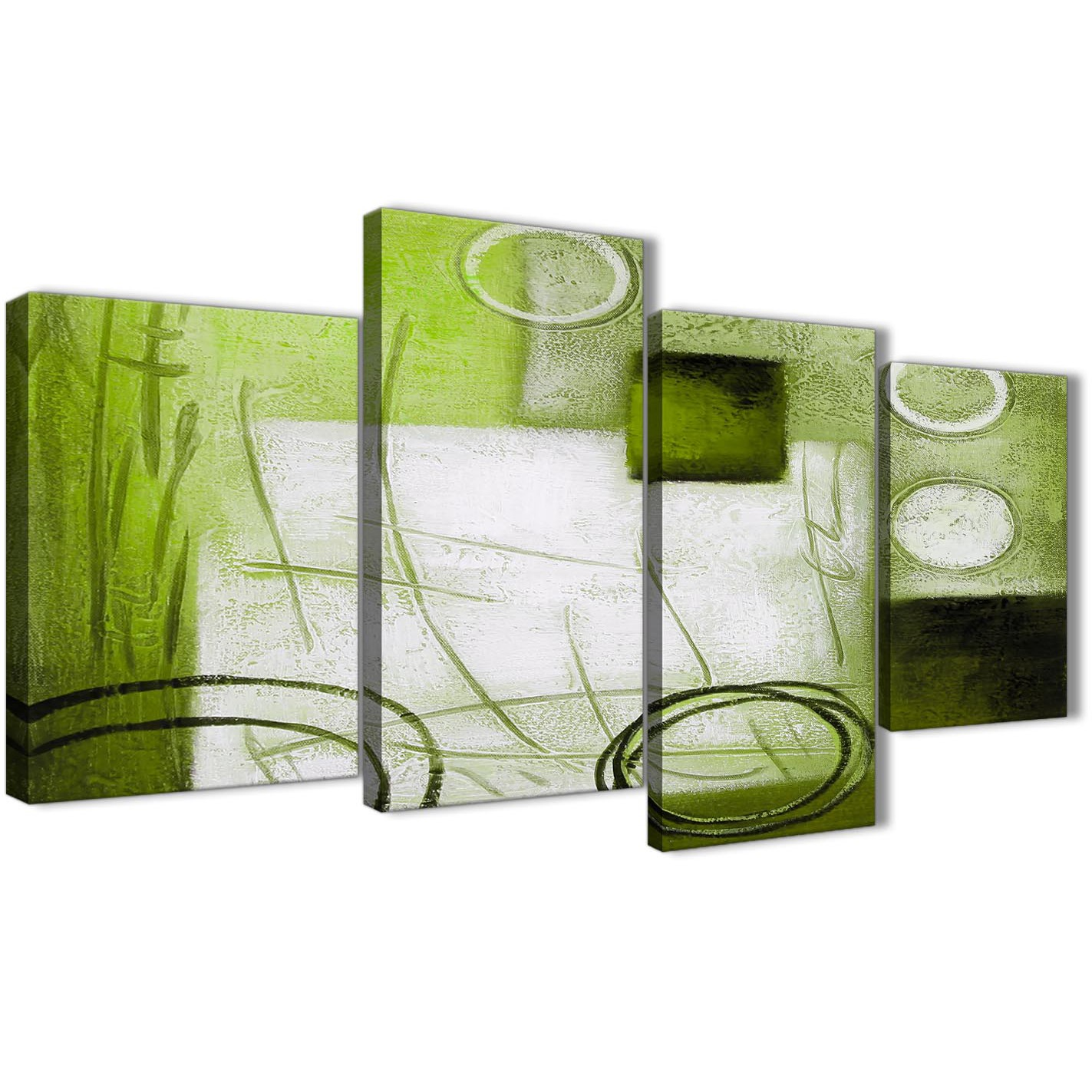 Bedroom Canvas Wall Art Uk: Large Lime Green Painting Abstract Bedroom Canvas Pictures