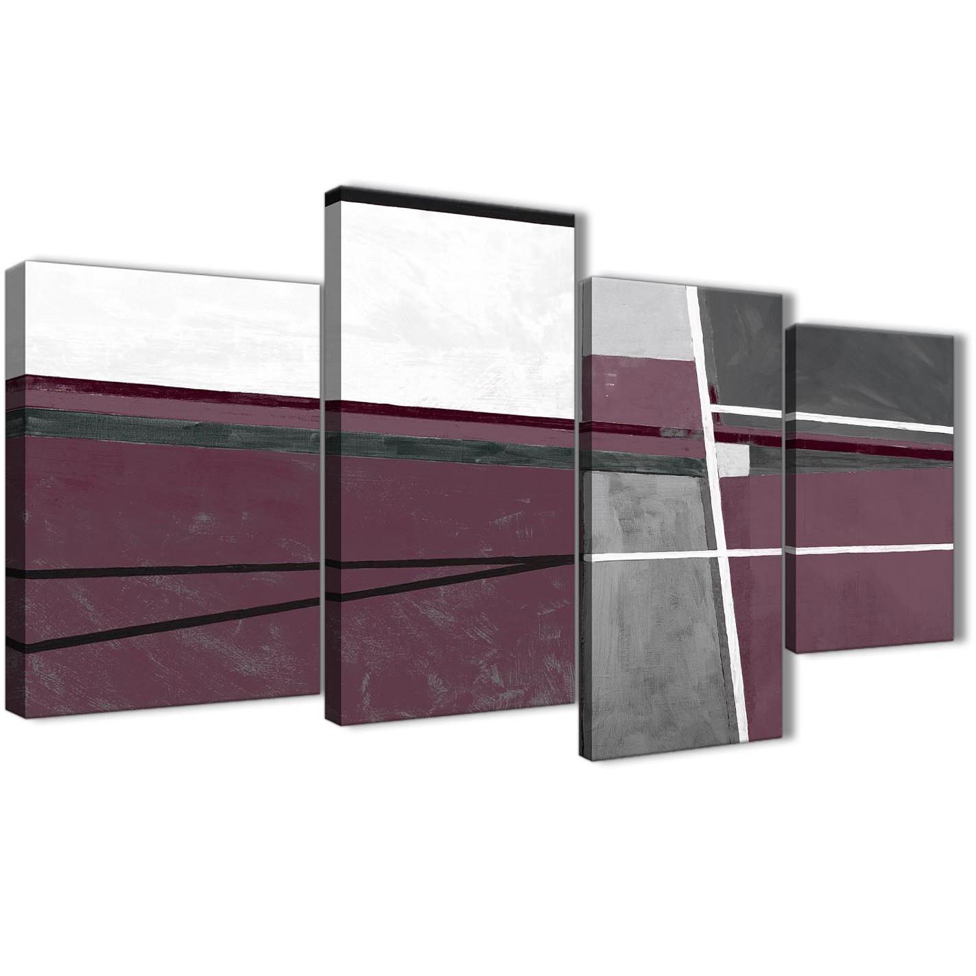 Plum Purple Grey Painting Kitchen Canvas Pictures: Large Plum Purple Grey Painting Abstract Living Room