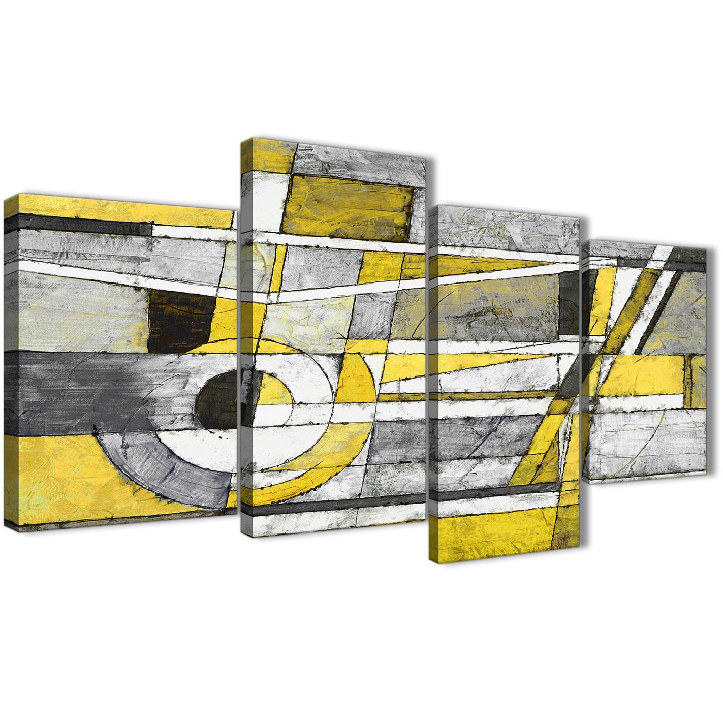 Yellow Grey Painting Abstract Bedroom Canvas Wall Art Decor