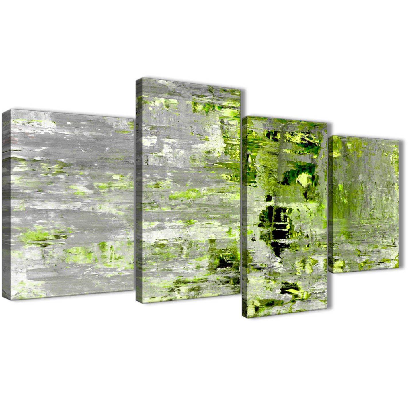 large lime green grey abstract painting wall art print canvas