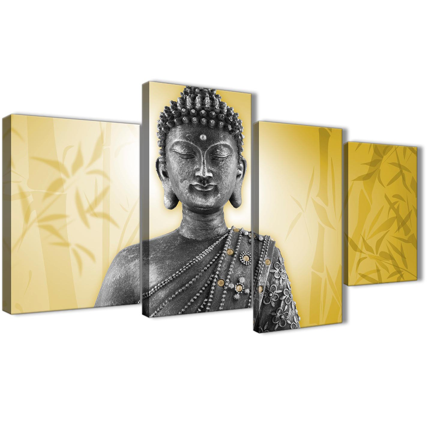 Large Mustard Yellow and Grey Silver Canvas Art Print of Buddha ...