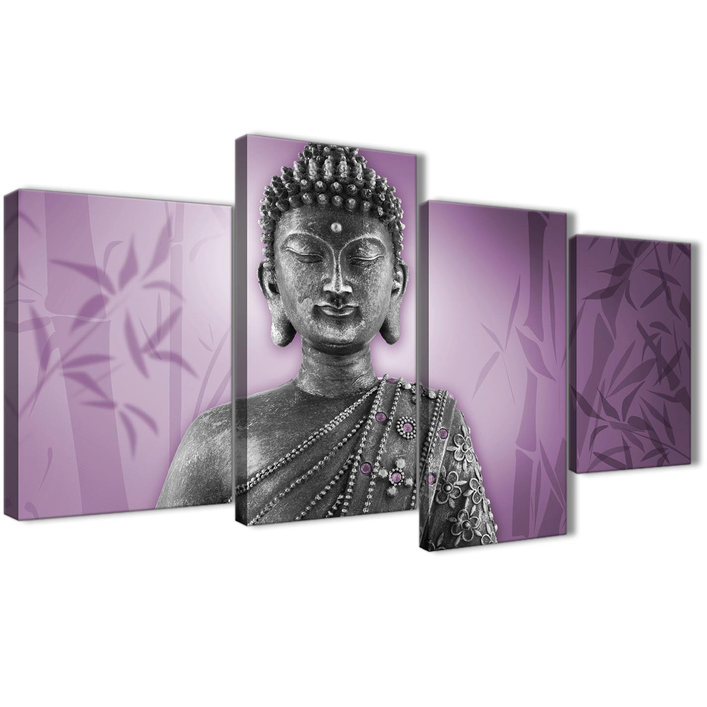 Large Purple And Grey Silver Canvas Art Prints Of Buddha Multi 4