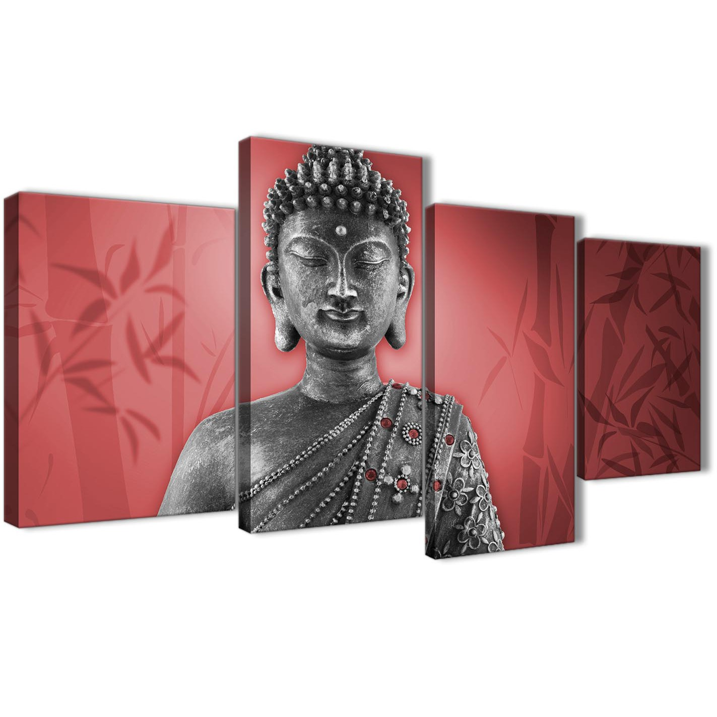 Oversized Large Red And Grey Silver Wall Art Prints Of Buddha Canvas Split  4 Piece 4331 Display Gallery Item 1 ...