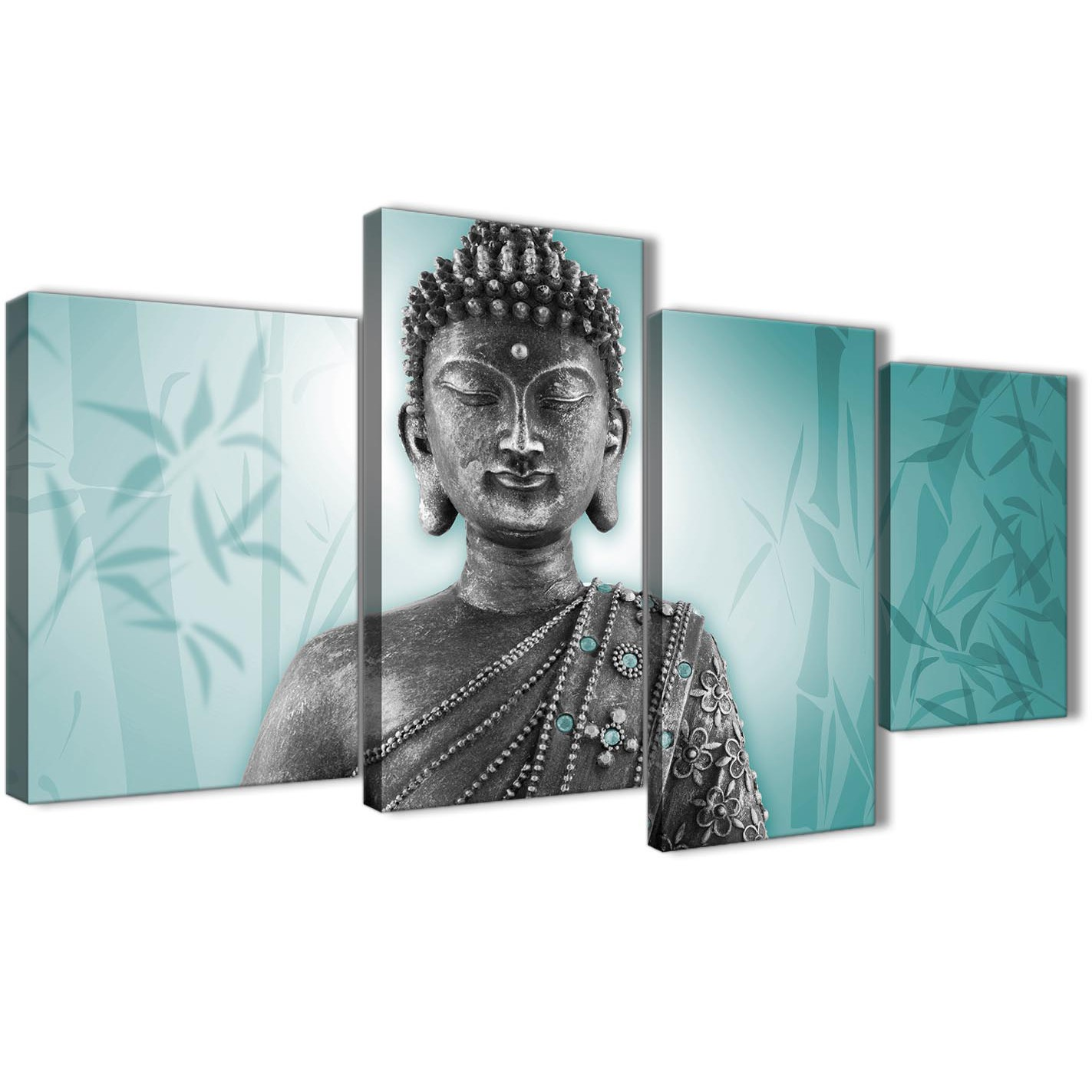 Oversized Large Teal And Grey Silver Wall Art Prints Of Buddha Canvas Multi  4 Piece 4327 Display Gallery Item 1 ...