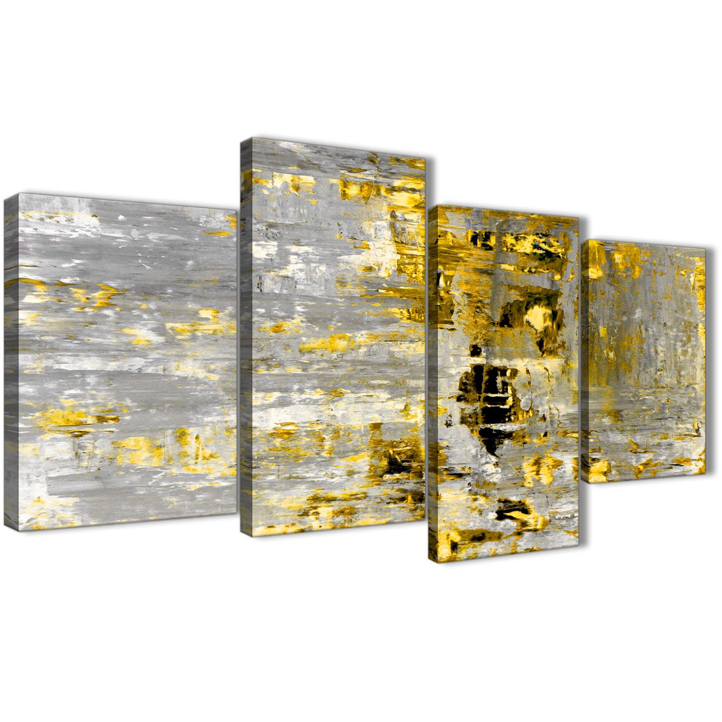 Large Yellow Abstract Painting Wall Art Print Canvas - Multi 4 Set ...