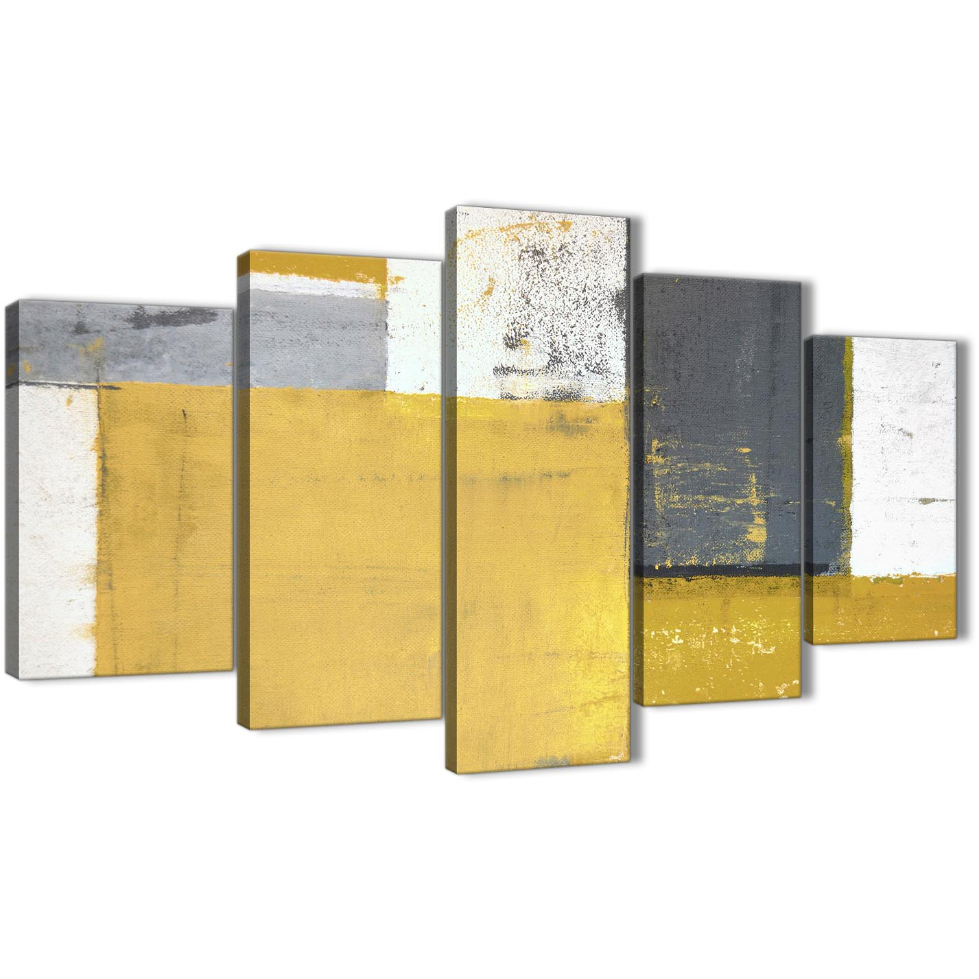 Extra Large Mustard Yellow Grey Abstract Painting Canvas Wall Art ...
