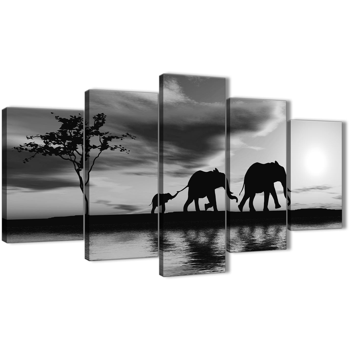 Oversized extra large black white african sunset elephants canvas wall art print multi 5 part 160cm display gallery item 1