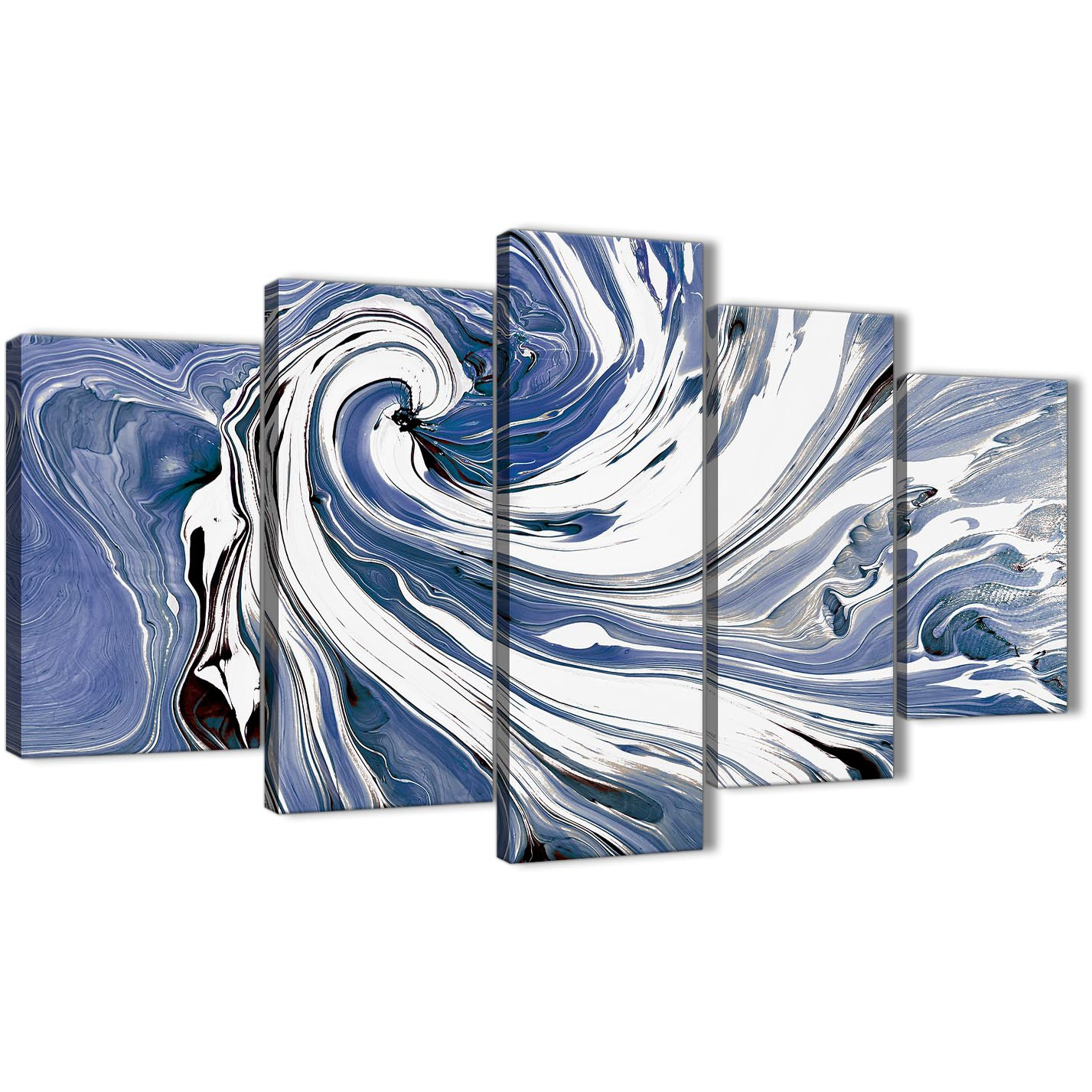 Extra Large Indigo Blue White Swirls Modern Abstract Canvas Wall Art