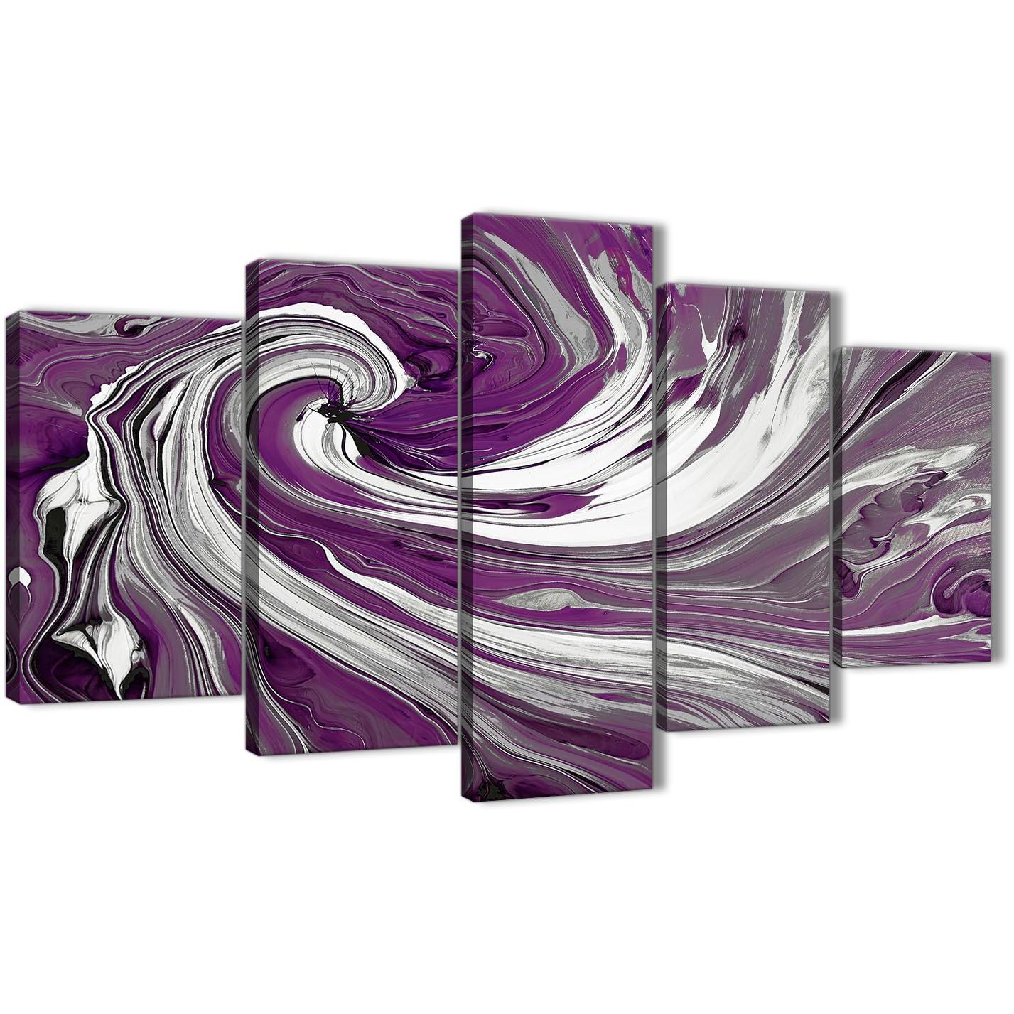 Oversized Extra Large Plum Purple White Swirls Modern Abstract Canvas Wall  Art Split 5 Panel 160cm Display Gallery Item 1 ...