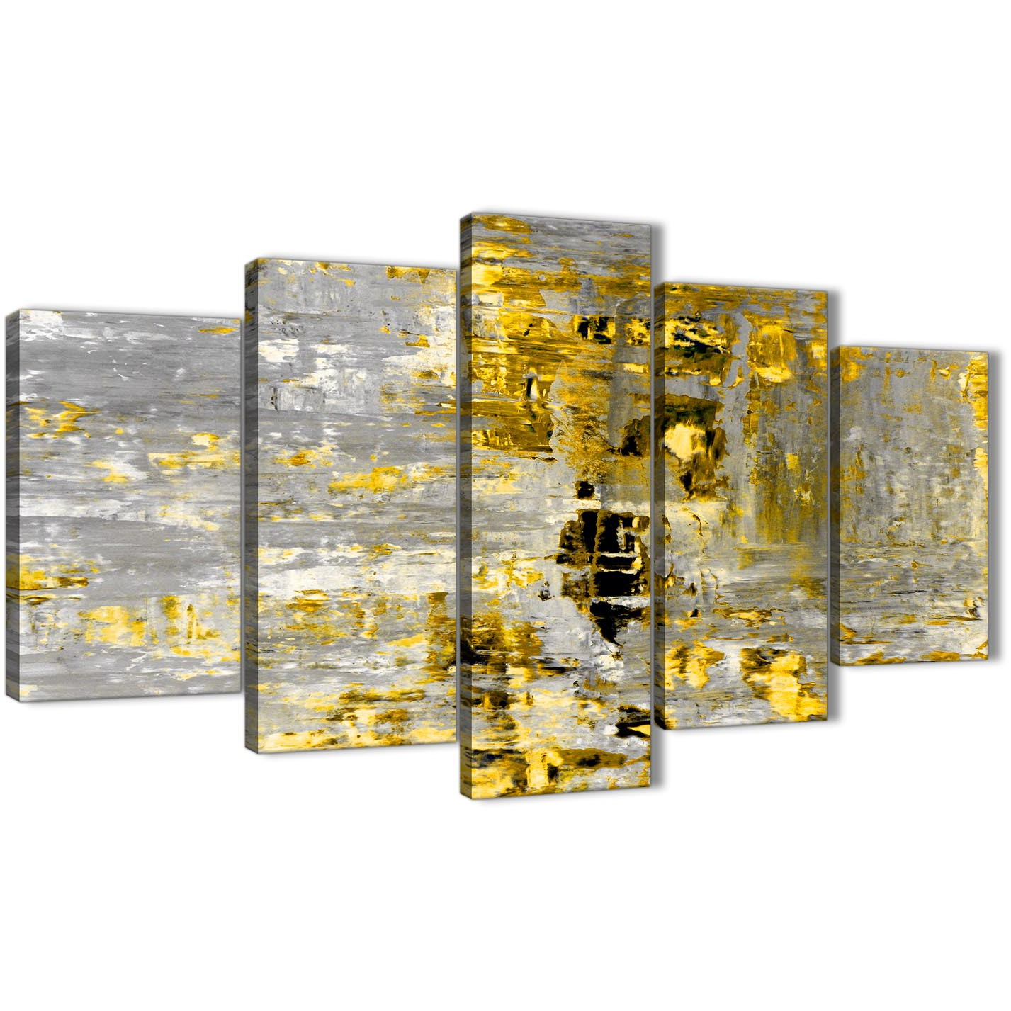 Extra Large Yellow Abstract Painting Wall Art Print Canvas - Multi 5 ...