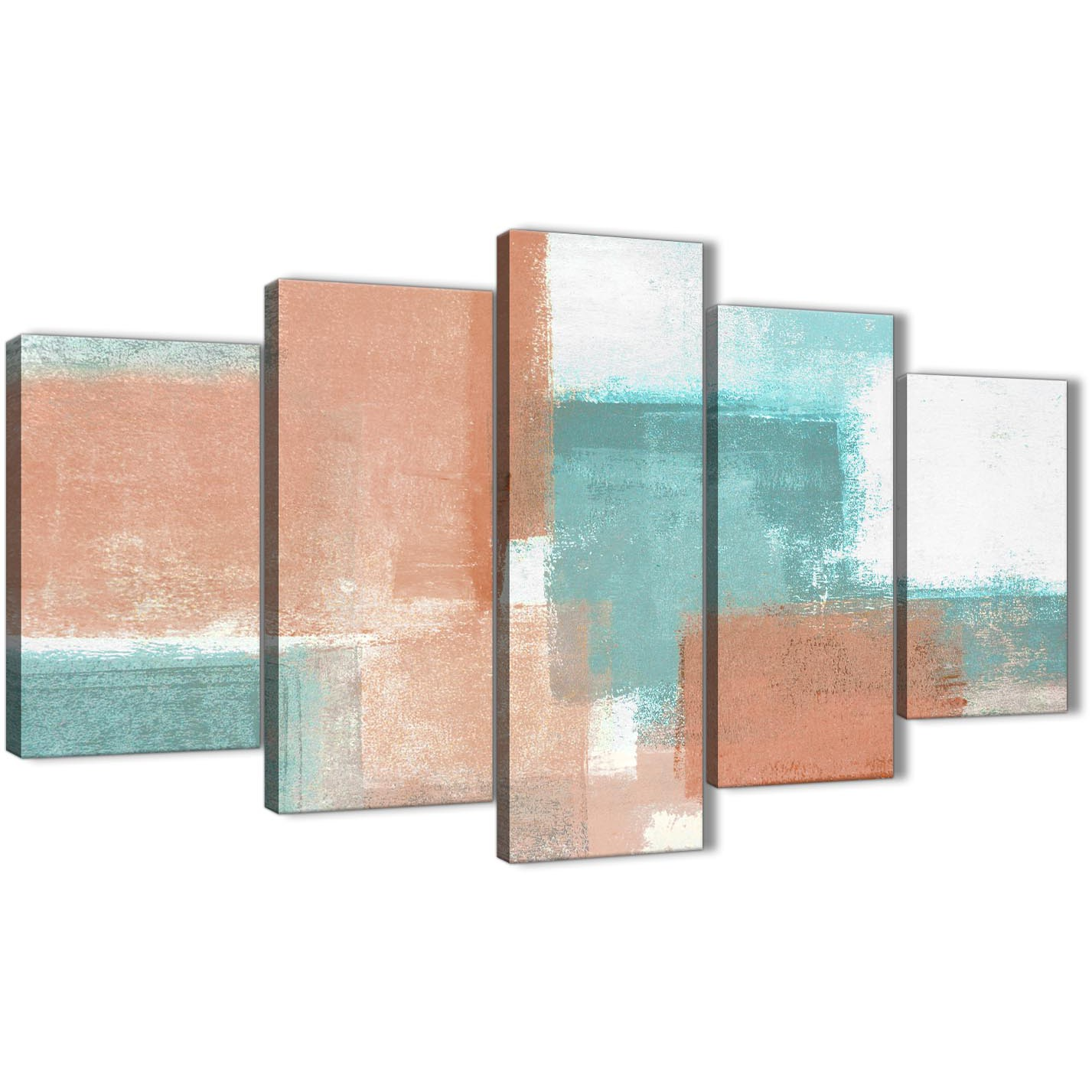 5 Piece Coral Turquoise Abstract Living Room Canvas Wall Art Decor