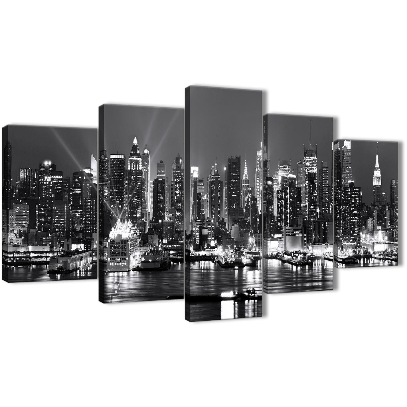 New York Nyc Skyline City Single Canvas Wall Art Picture: 5 Panel Landscape Canvas Wall Art Prints