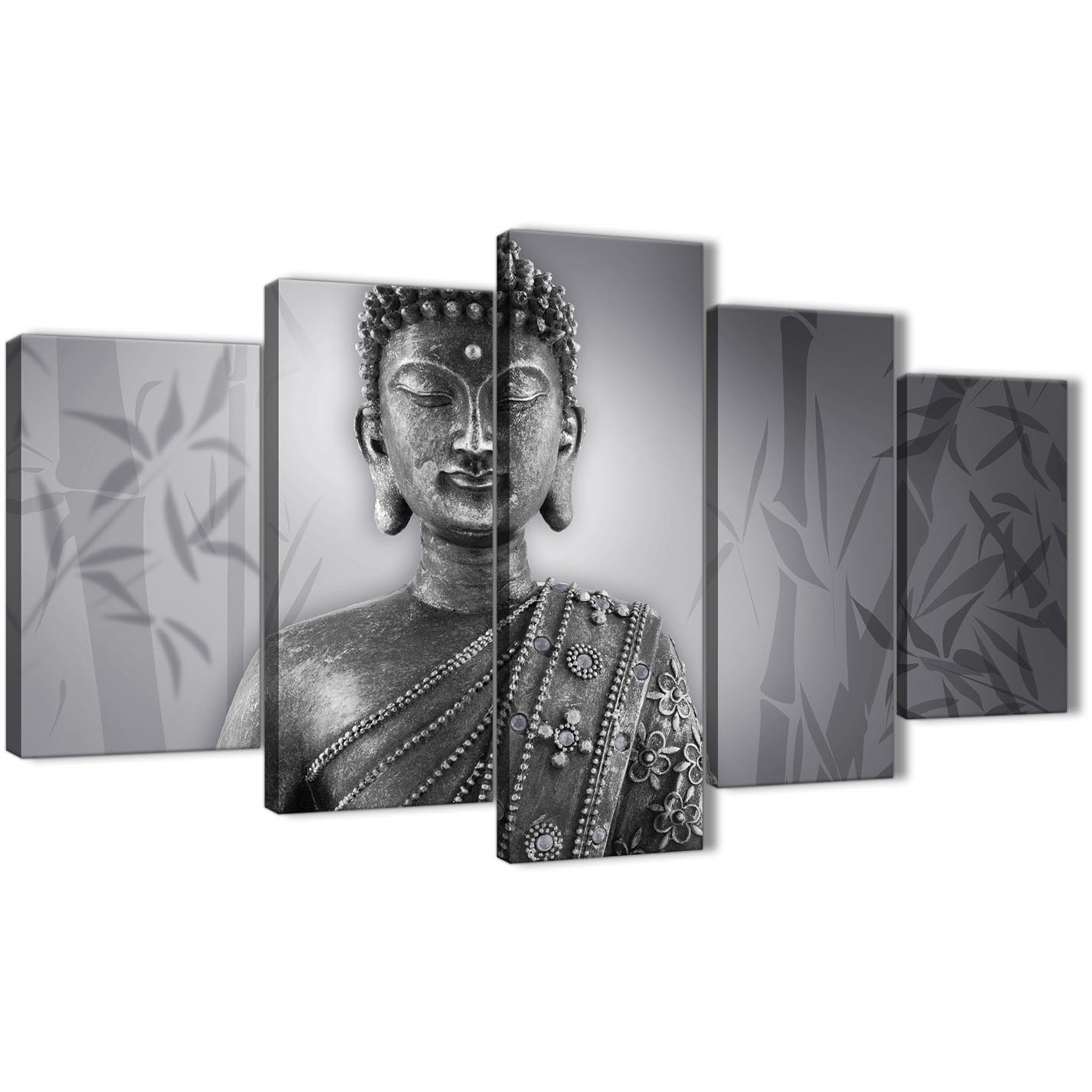 Oversized 5 panel black white buddha office canvas wall art decor 5373 160cm xl display gallery item 1