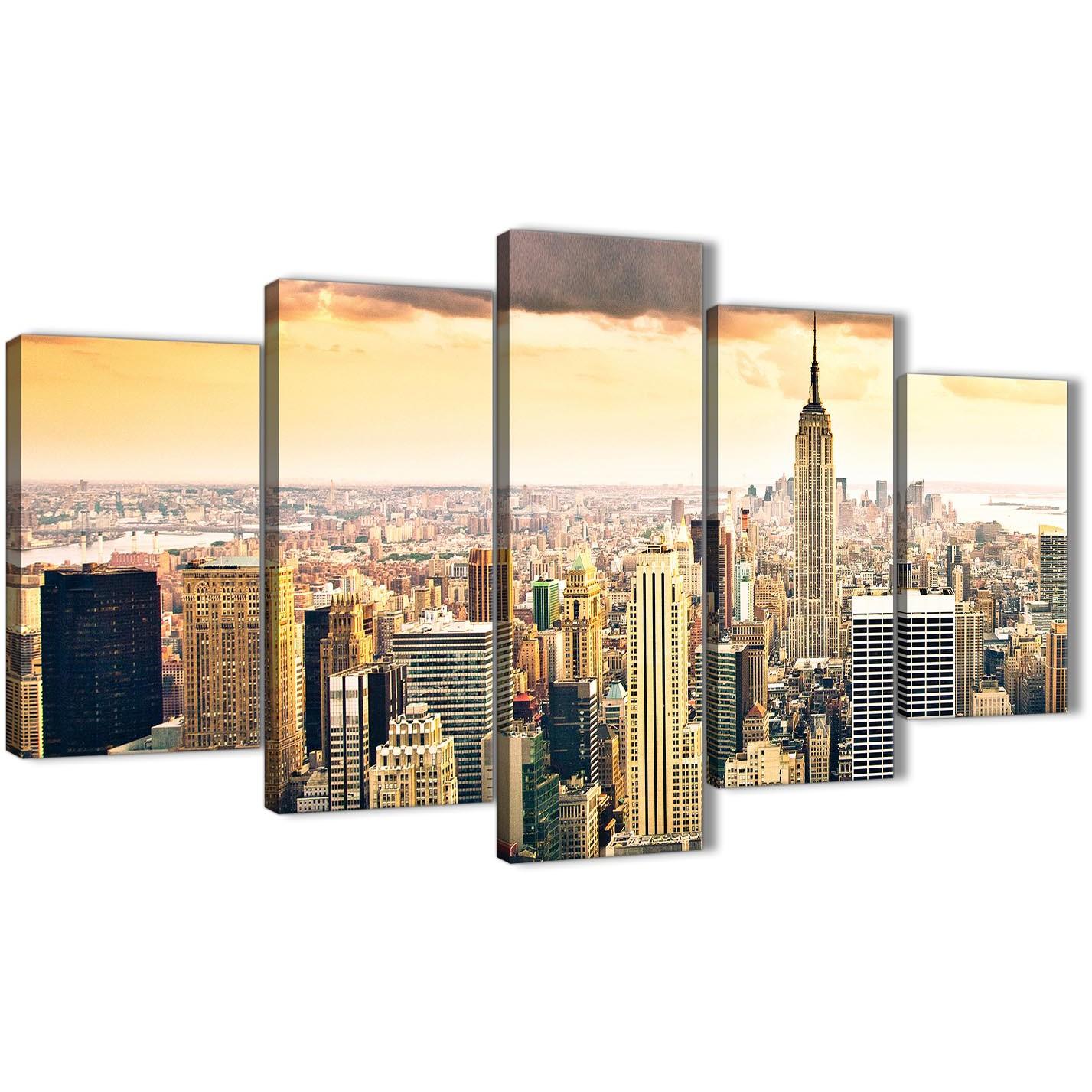 New York Nyc Skyline City Single Canvas Wall Art Picture: 5 Piece New York Manhattan Skyline Yellow Grey City