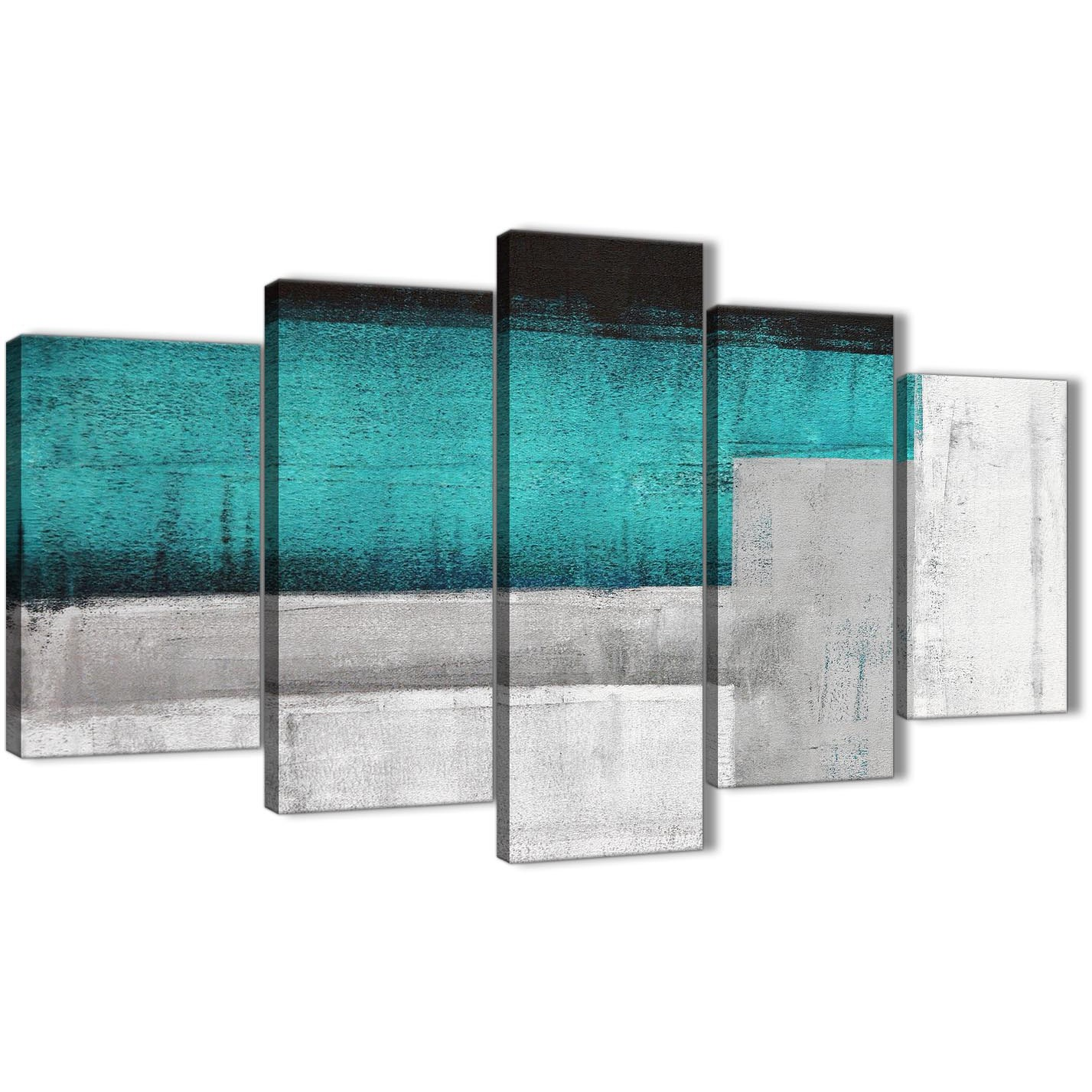 5 panel teal turquoise grey painting abstract office canvas wall art