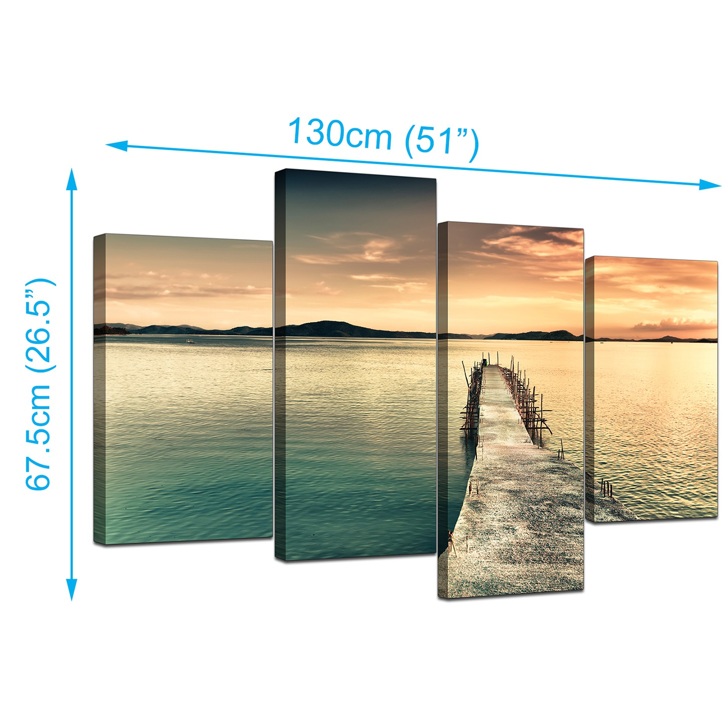 Canvas Prints of a Lake for your Bathroom - Set of 4