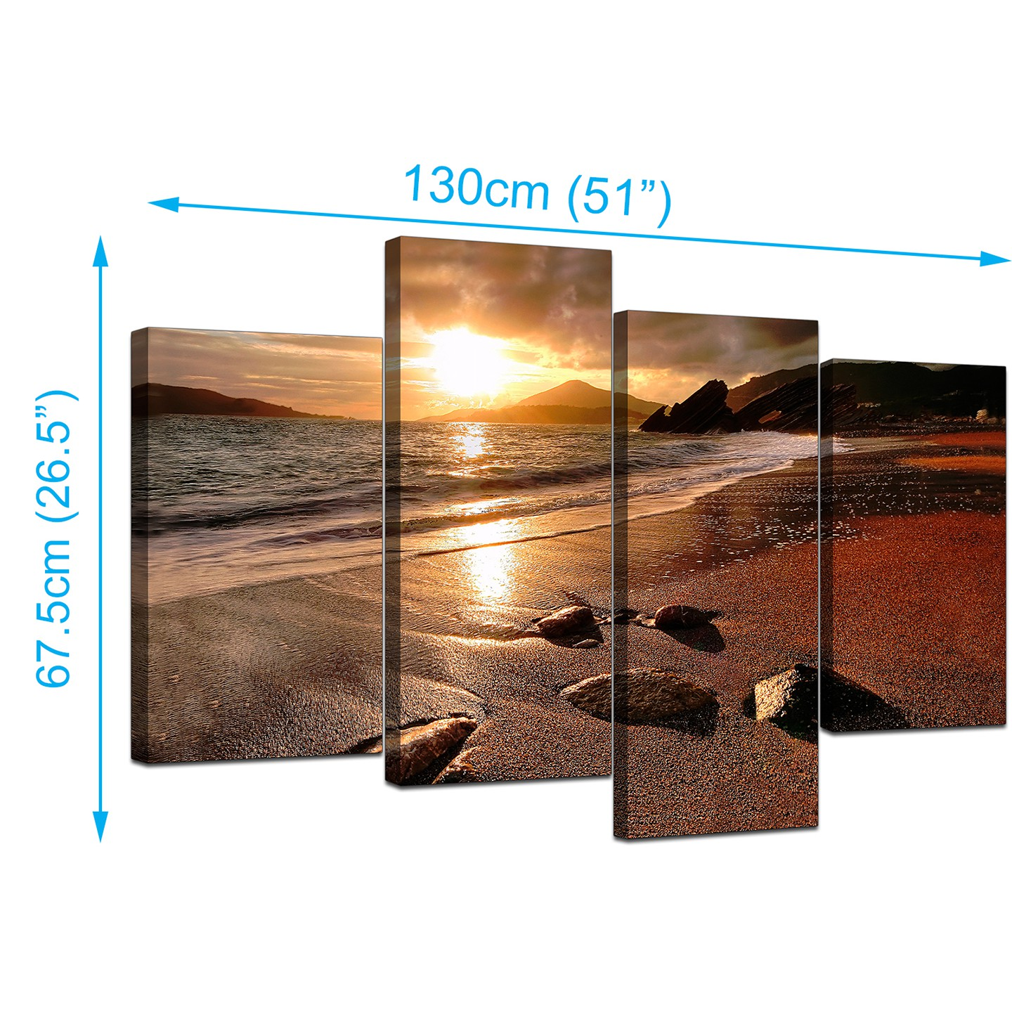 Purple And Teal Bedroom Canvas Art Of Beach Sunset For Your Living Room 4 Panel