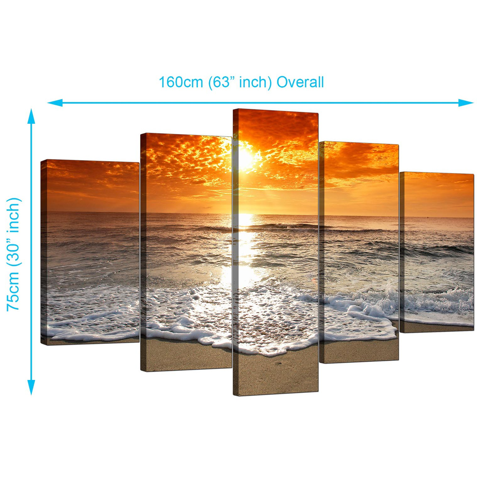 Display Gallery Item 1; 5 Piece Set of Living-Room Orange Canvas Prints Display Gallery Item 2 ...  sc 1 st  Wallfillers & Beach Sunset Canvas Prints for your Living Room - 5 Part