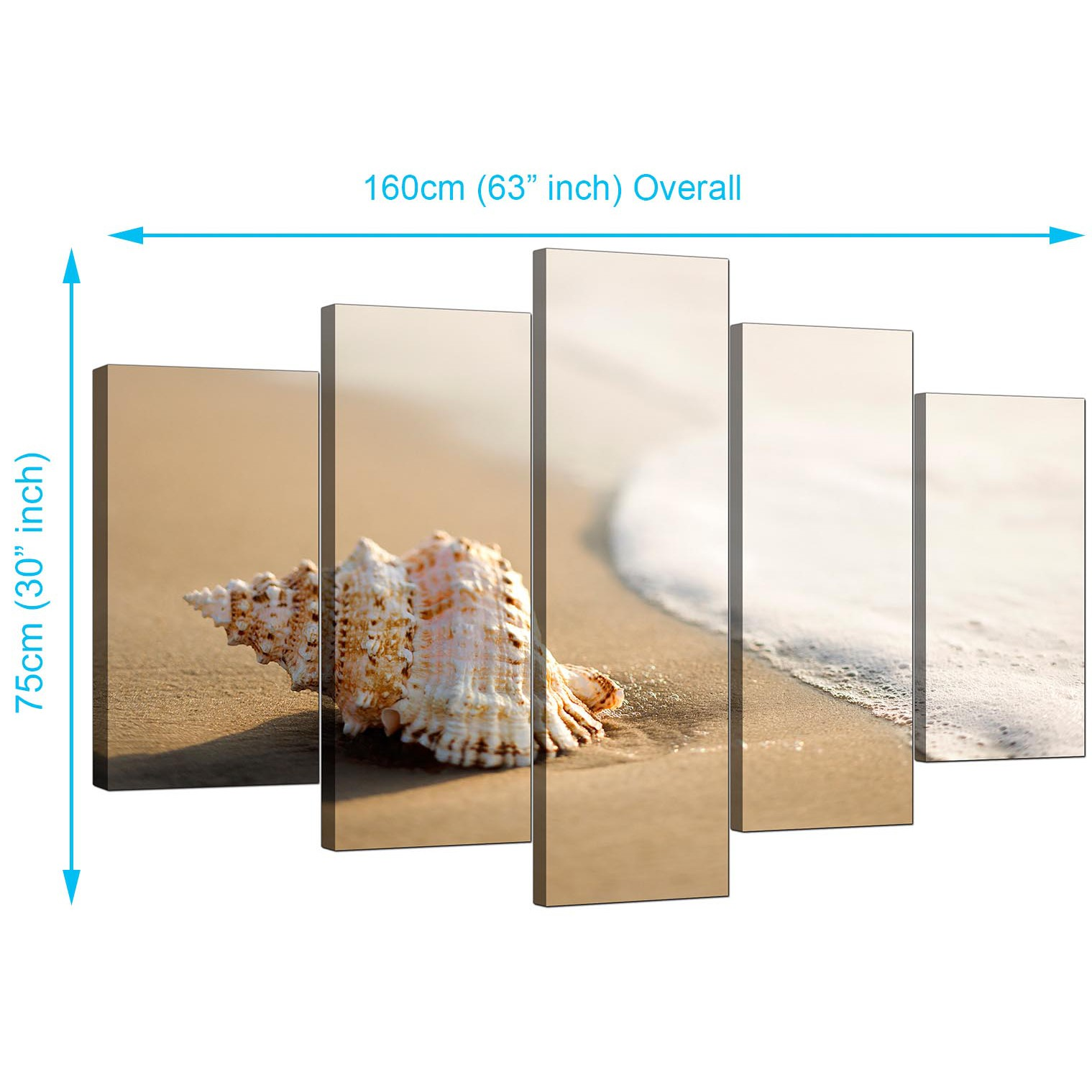 beach canvas wall art for your bathroom 5 panel. Black Bedroom Furniture Sets. Home Design Ideas