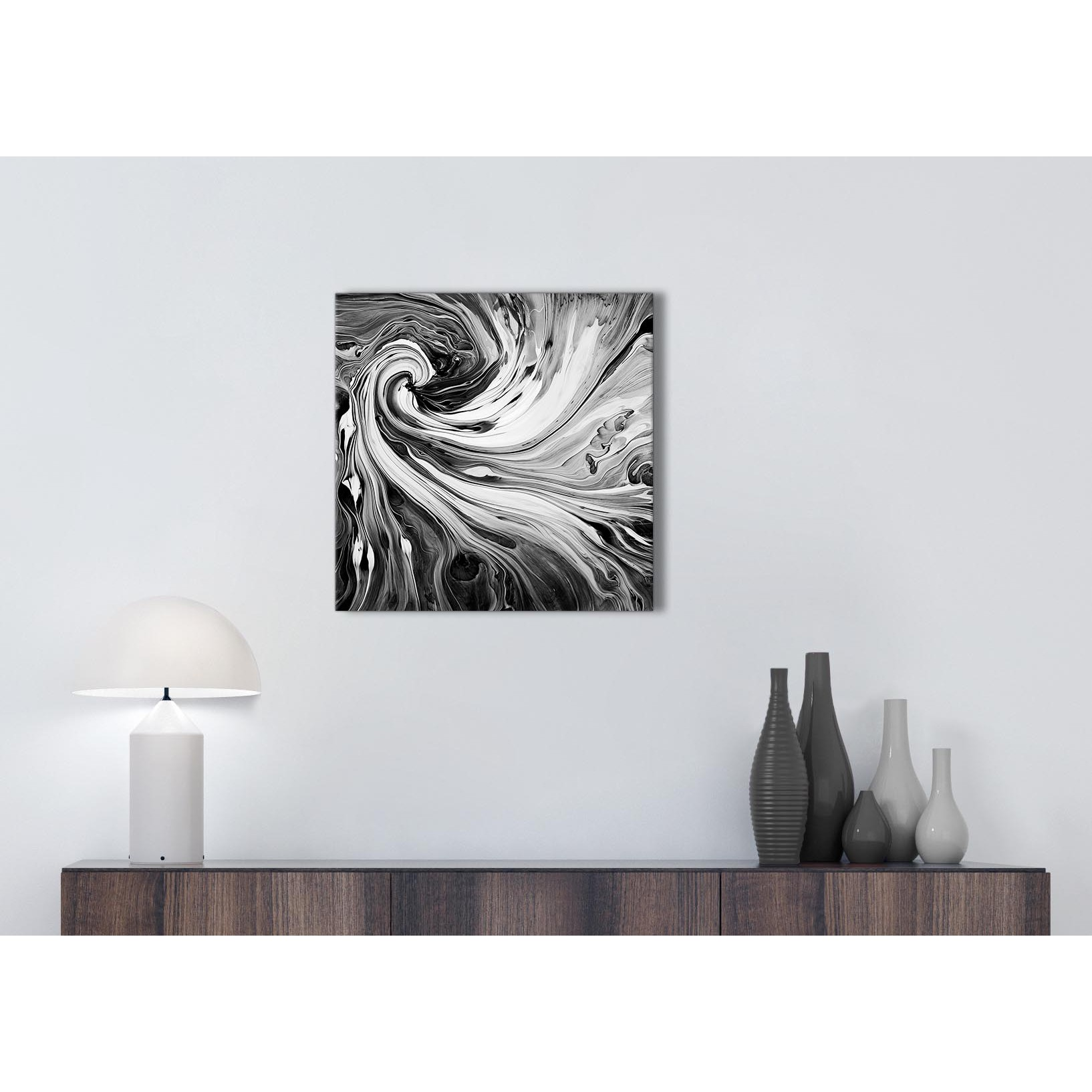 Display gallery item 1 · cheap black white grey swirls modern abstract canvas wall art modern 49cm square 1s354s for your display gallery item 2