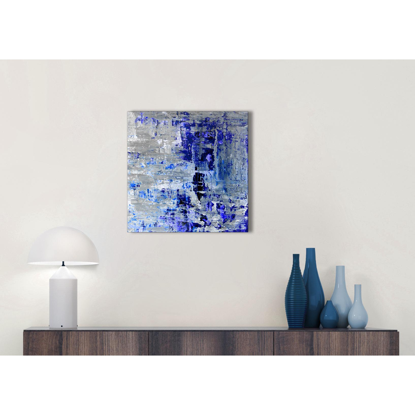 Indigo Blue Grey Abstract Painting Wall Art Print Canvas Modern