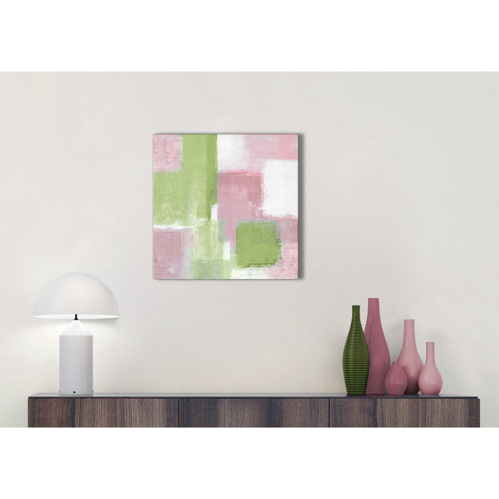 Pink Lime Green Kitchen Canvas Wall Art Accessories - Abstract ...