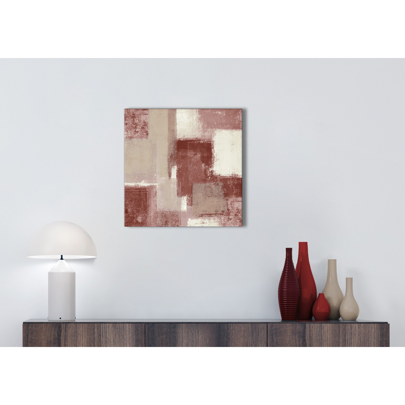 Red and Cream Bathroom Canvas Wall Art Accessories - Abstract 1s370s ...