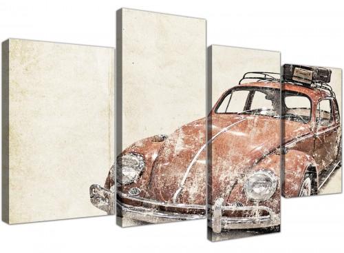 cheap large vw beetle bug rat look surfer brown volkswagen lifestyle canvas split 4 part 4279 for your bedroom