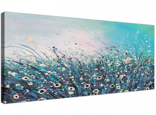 cheap panoramic teal floral canvas wall art 1260