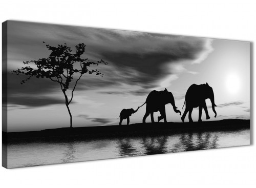 Black White African Sunset Elephants Canvas Wall Art Print