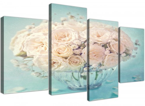 cheap large duck egg blue and white roses flowers floral canvas split 4 piece 4286 for your girls bedroom