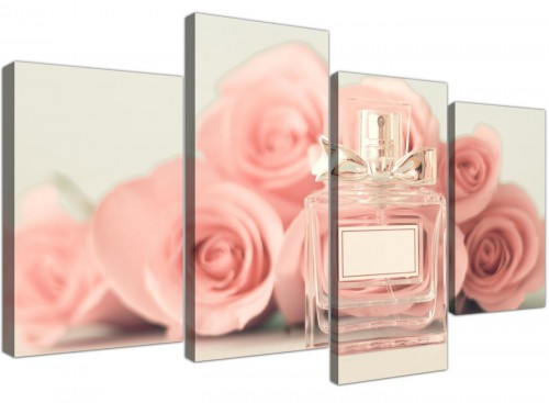 cheap large shabby chic pink cream rose perfume girls bedroom floral canvas multi 4 piece 4285 for your bedroom