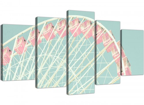cheap extra large shabby chic duck egg blue pink ferris wheel lifestyle canvas split set of 5 5282 for your bedroom