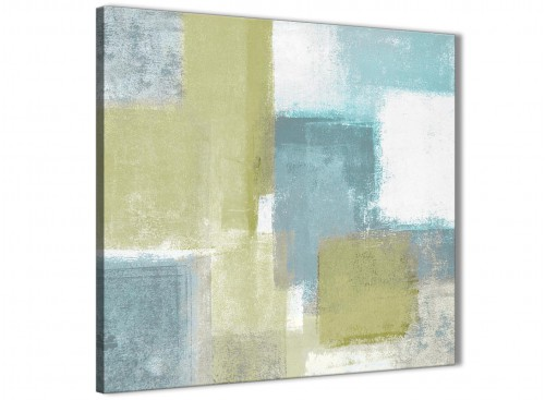 Oversized Lime Green Teal Abstract Painting Canvas Wall Art Print Modern 79cm Square For Your Kitchen-1s365l