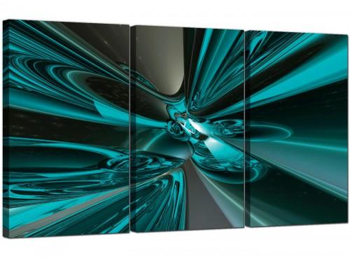 Three Panel Modern Canvas Wall Art Blue Green 3017
