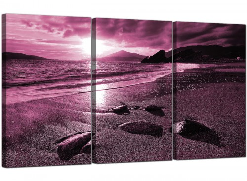 Plum Coloured Sunset Beach Scene Landscape Canvas