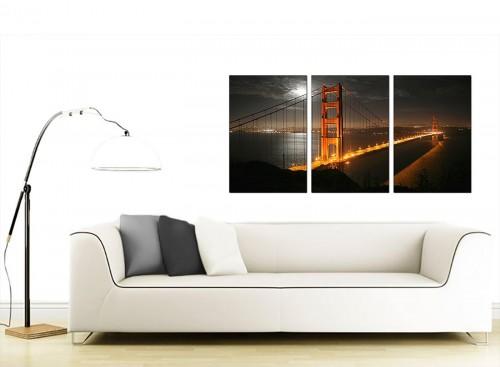 3 Panel American City Canvas Prints 125cm x 60cm 3038