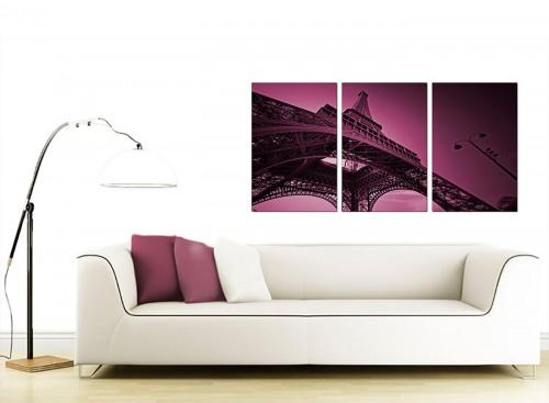 Three Panel French City Canvas Prints 125cm x 60cm 3015