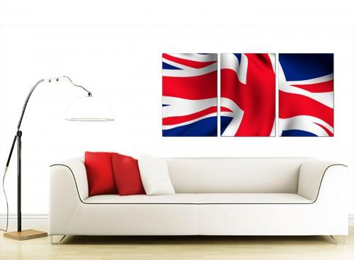 Set of 3 Flag Canvas Prints UK 125cm x 60cm England 3008