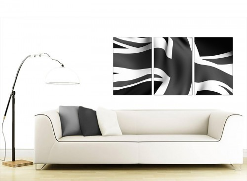 3 Panel British Flag Canvas Prints 125cm x 60cm 3019