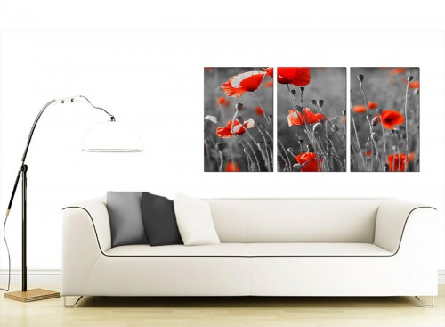 Set of 3 Floral Canvas Art 125cm x 60cm 3135