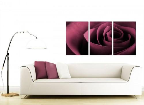 Set of 3 Flower Canvas Prints 125cm x 60cm 3111