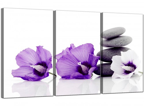 Large Purple Grey White Flowers Zen Stones Floral Canvas Art