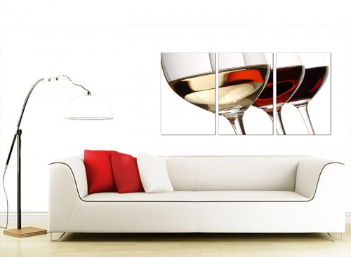 Set of 3 Food & Drink Canvas Prints UK 125cm x 60cm 3067