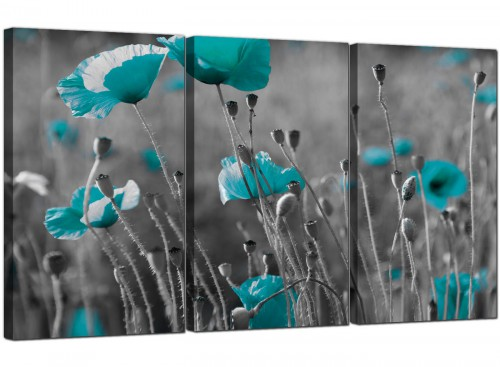 Large Teal Poppy Grey Black Poppies Flower Floral Canvas Art