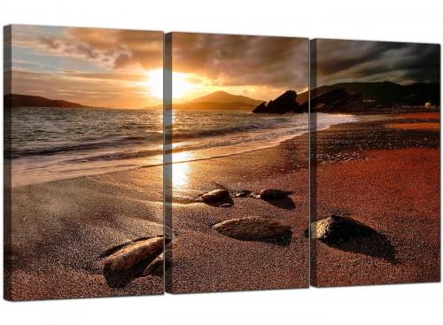 Modern Sunset Beach Scene Golden Brown Landscape Canvas