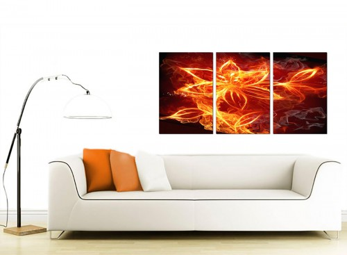 Set of 3 Floral Canvas Prints UK 125cm x 60cm 3063