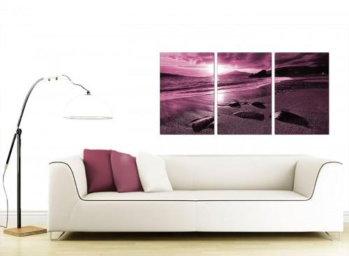 Three Panel Sea Canvas Wall Art 125cm x 60cm 3078