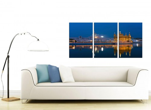 Set of 3 Indian Canvas Pictures 125cm x 60cm 3196