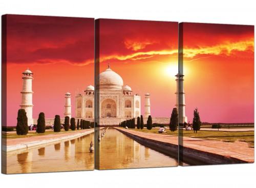 Set of 3 Indian Canvas Wall Art Taj Mahal 3193